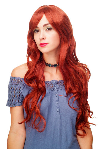 Stunning Lady Quality Wig very long wavy long fringe (for side parting) dark copper red 27,5 inch
