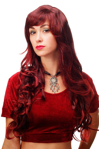 Stunning Lady Quality Wig very long wavy fringe (for side parting) black + red highlights strands