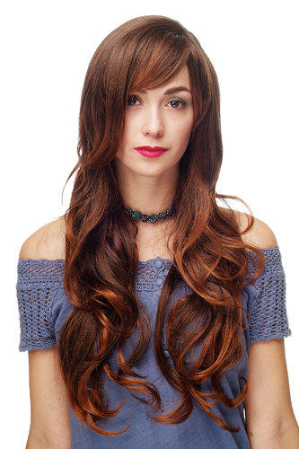 Stunning Lady Quality Wig very long wavy long fringe (for side parting) chestnut mixed brown
