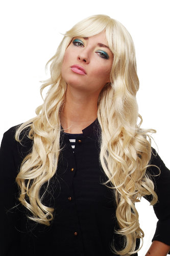 Stunning Lady Quality Wig very long wavy long fringe (for side parting) bright blond 27,5 inch