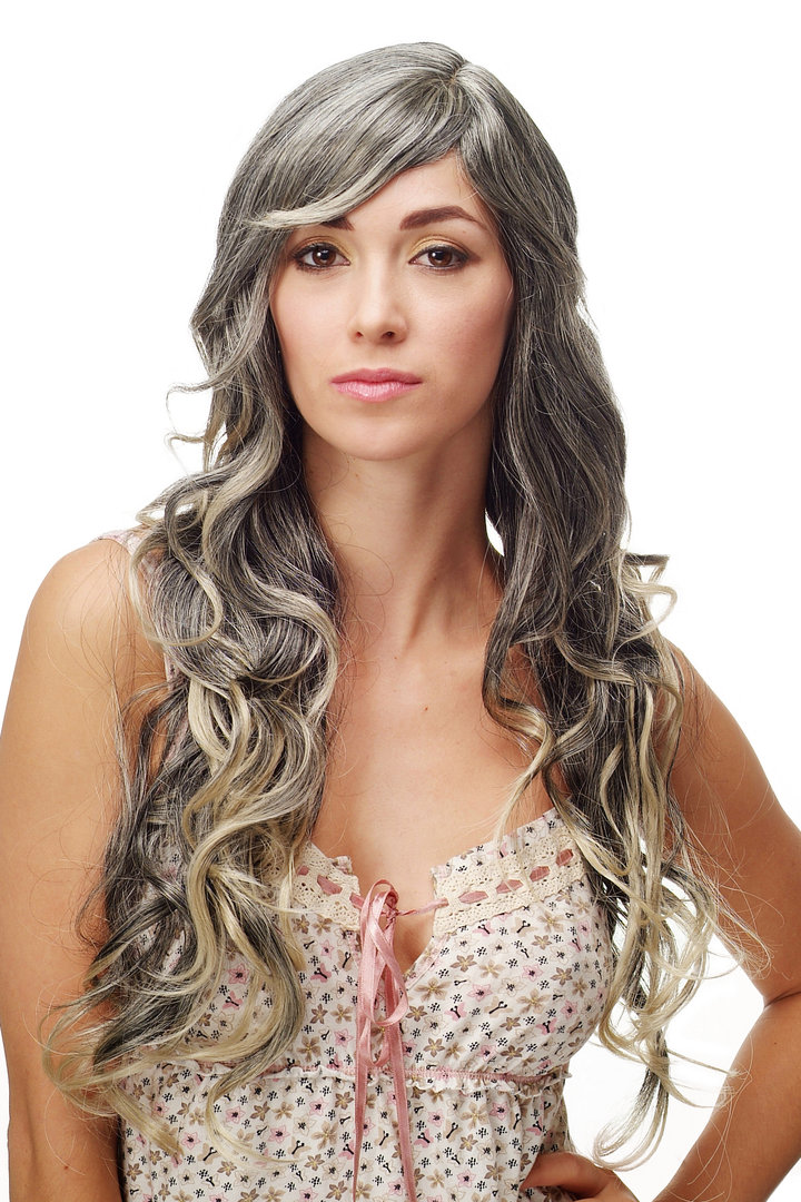 Stunning Lady Quality Wig Very Wavy Long Fringe For Side Parting
