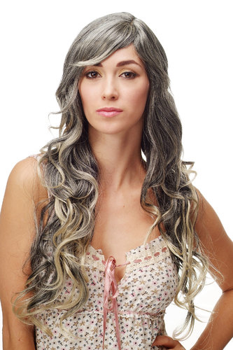 Stunning Lady Quality Wig very wavy long fringe (for side parting) black + blond highlights strands