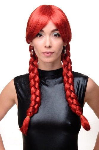 Lady Quality Wig long braided pigtails braids Schoolgirl Harajuku Japan Gothic Lolita bright red