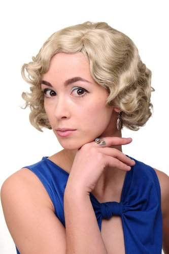 Lady Quality Wig Short Bob 20s 30s Twenties Movie Star Diva Charleston Swing Style Wave Ash blond
