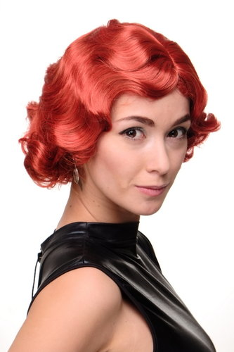 Lady Quality Wig Short Bob 20s Twenties Movie Star Charleston Swing Style Wave Fiery Bright Red