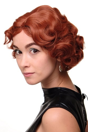 Lady Quality Wig Short Bob 20s 30s Twenties Movie Star Diva Charleston Swing Style Wave Copper Red