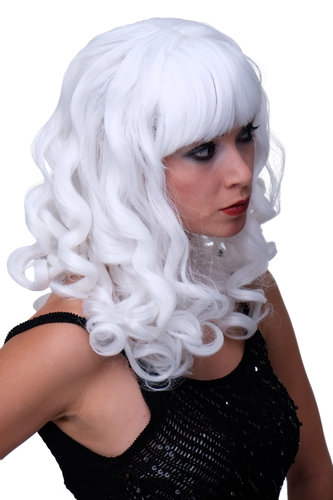 Party/Fancy Dress Lady WIG long snow WHITE fringe slightly curly FRINGE Hollywood Diva Femme Fatale