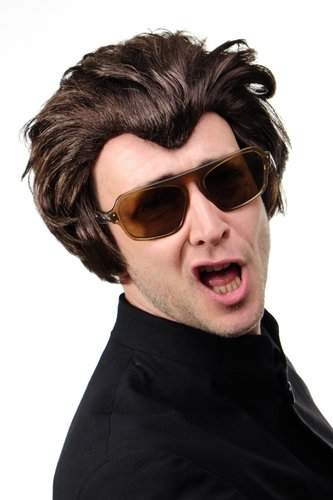 Party/Fancy Dress/Halloween Wig Old Rockabilly Horror Punk Quiff 50ies Vampire Dracula BROWN