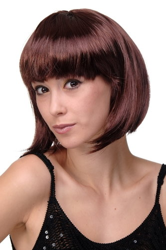 Party/Fancy Dress/Halloween Lady WIG Bob fringe short Mahogany reddish brown disco