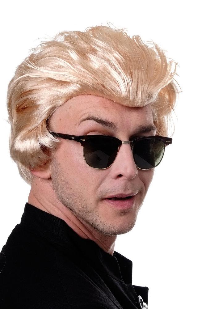 Party Wig Fancy Dress Men Quiff Sideburns Rockabilly Retro Biker