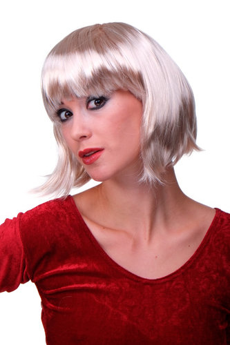 Party/Fancy Dress/Halloween Lady WIG Bob fringe short BRIGHT BLOND disco COSPLAY