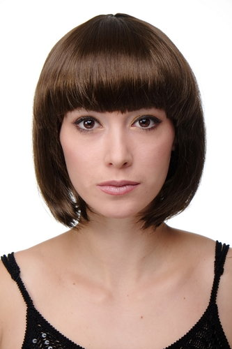 Party/Fancy Dress/Halloween Lady WIG Bob fringe short BROWN disco PW0114-P6 COSPLAY