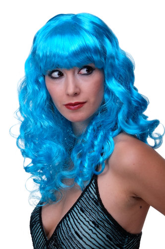 WIG ME UP - Party/Fancy Dress/Halloween Lady WIG long BLUE slightly curly FRINGE disco LM-142