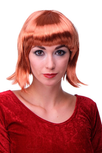 Party/Fancy Dress/Halloween Lady WIG Bob fringe short sexy COPPER red disco COSPLAY