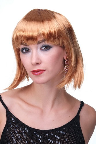 Party/Fancy Dress/Halloween Lady WIG Bob fringe short sexy dark GOLD BLOND golden disco