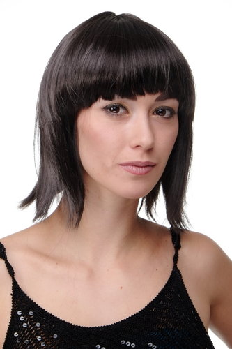Party/Fancy Dress/Halloween Lady WIG Bob fringe short DARK BROWN disco PW0114-P2 COSPLAY