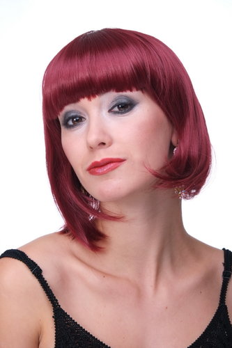 Lady Party Wig Bob fringe short garnet red disco PW0114-P67 COSPLAY burlesque