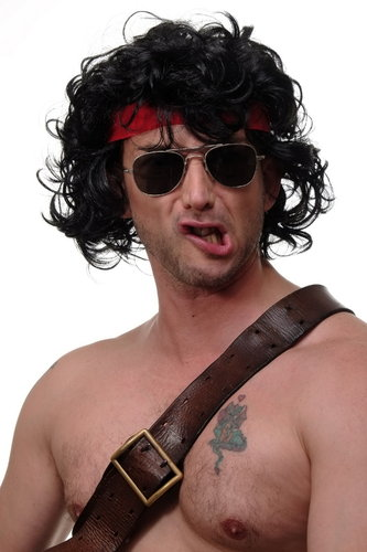 WIG ME UP - Party/Fancy Dress/Halloween curly black wig 80ies Action Hero or Dance Instructor