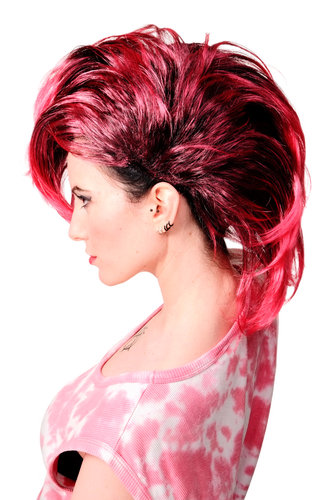 WIG ME UP - Party/Fancy Dress/Halloween Wig Mohawk 80ies Wave Glam Punk Black & Pink