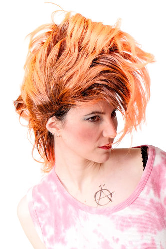 Perücke Punk Glam Vamp Iro Orange Modell: PW0078-1