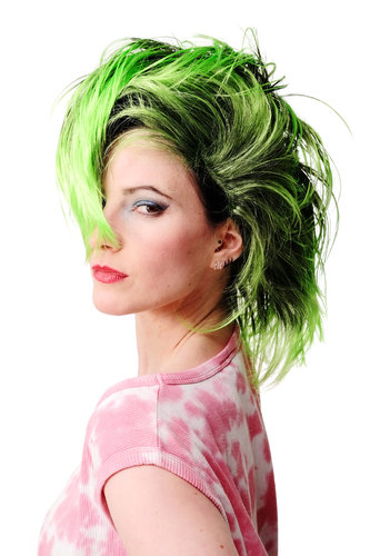 WIG ME UP - Party/Fancy Dress/Halloween Wig Mohawk 80ies Wave Glam Punk Black & Green