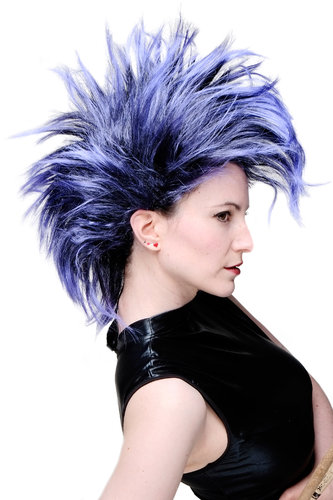 WIG ME UP - Party/Fancy Dress/Halloween Wig Mohawk 80ies Wave Glam Punk Black & Blue