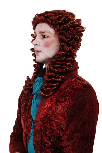Party/Fancy Dress/Halloween red Wig with pigtail Lord baroque Composer Aristocrat Casanova Count