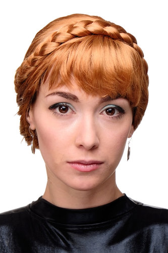 Lady Quality Wig Cosplay traditional fairy tale princess braided red + blond strand bangs fringe