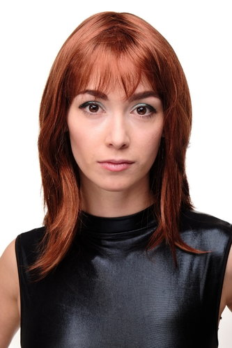 Sexy Lady Quality Wig shoulder length layered longbob copper red redbrown strands streaked 18""