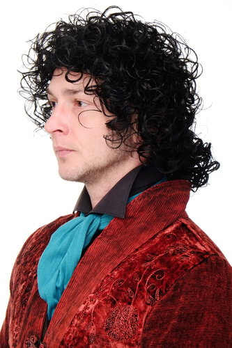 Men Lady Quality Cosplay Wig wild curls curly curled black baroque poet ponytail pop star black