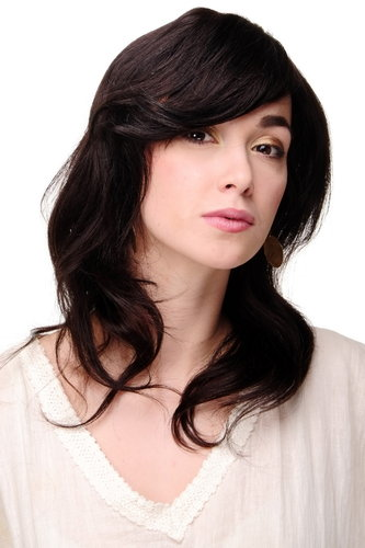1625HH-2 Lady Quality Wig 100% Human long wavy medium black blackbrown 20""