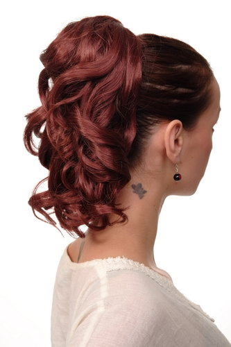 Hairpiece PONYTAIL with comb and elastic draw string short wavy voluminous redbrown dark red 14""