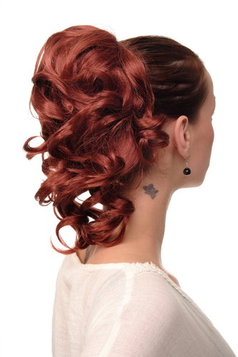 Hairpiece PONYTAIL with comb and elastic draw string short wavy voluminous copper red 14""