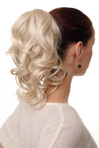 Hairpiece PONYTAIL with comb and elastic draw string short wavy voluminous light blond 14""