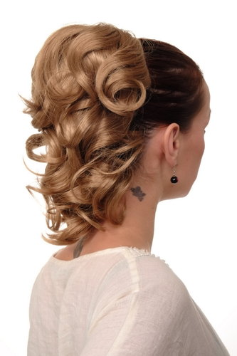 Hairpiece PONYTAIL with comb and elastic draw string short wavy voluminous dark to medium blond 14""
