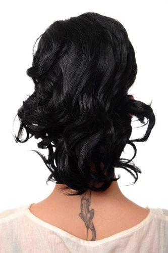 JL-3023-1 Hairpiece PONYTAIL with comb and elastic draw string short wavy voluminous deep black 14""