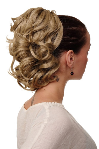 JL-3023-24 Hairpiece PONYTAIL with comb and elastic draw string short wavy voluminous ash blond 14""
