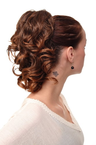 Hairpiece PONYTAIL with comb and elastic draw string short wavy voluminous chestnut brown mix 14""