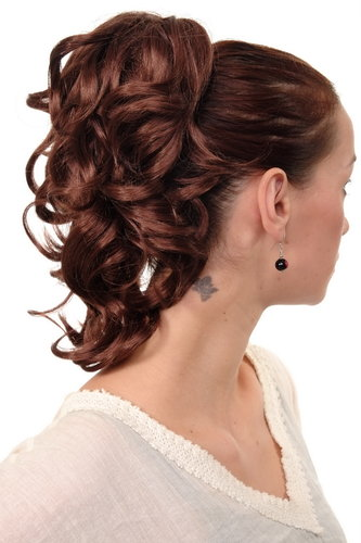Hairpiece PONYTAIL with comb and elastic draw string short wavy voluminous dark auburn mahogany 14""