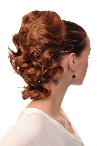 Hairpiece PONYTAIL with comb and elastic draw string short wavy voluminous light copper brown 14""