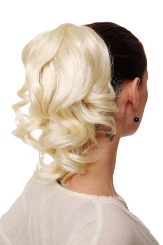 Hairpiece PONYTAIL with comb and elastic draw string short wavy voluminous platinum blond 14""