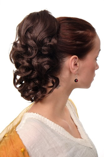 Hairpiece PONYTAIL with comb and elastic draw string short wavy voluminous medium brown 14""