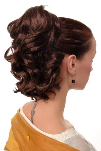 Hairpiece PONYTAIL with comb and elastic draw string short wavy voluminous mahogany brown mix 14""