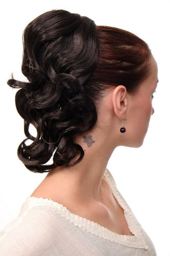 JL-3023-4 Hairpiece PONYTAIL with comb and elastic draw string short wavy voluminous dark brown 14""