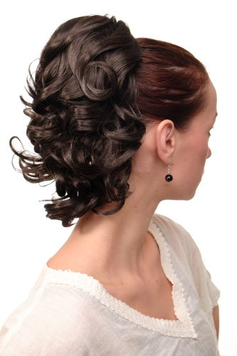 Hairpiece PONYTAIL with comb and elastic draw string short wavy voluminous platinum brown 14""