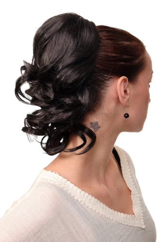 JL-3023-3 Hairpiece PONYTAIL with comb and elastic draw string short wavy voluminous dark brown14""