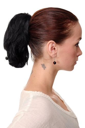 T6545-1 Ponytail Hairpiece extension short wild look deep black 10""