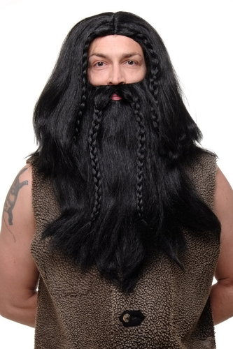Party/Fancy Dress /Halloween black Wig & Beard Erik Viking Chieftain Barbarian Berzerker Dwarf