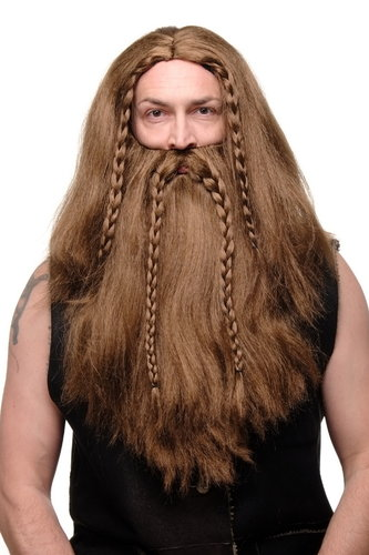 Party/Fancy Dress/Halloween brown Wig & Beard Erik Viking Chieftain Barbarian Berzerker Dwarf