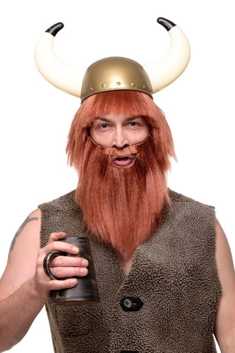 Party/Fancy Dress/Halloween black Wig & Beard Erik the Red Viking Barbarian Berzerker Stone Age Man